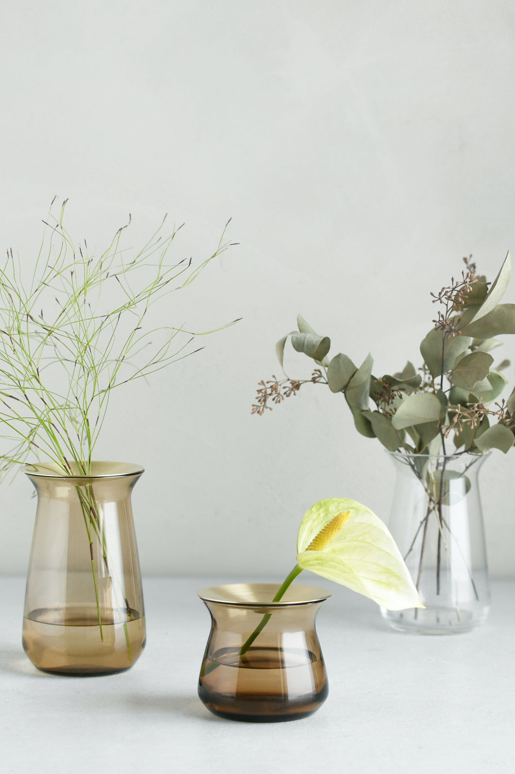 Propagating vase, hydroponics, brass, Japanese decor, #vase #cuttings | www.bowlandpitcher.com