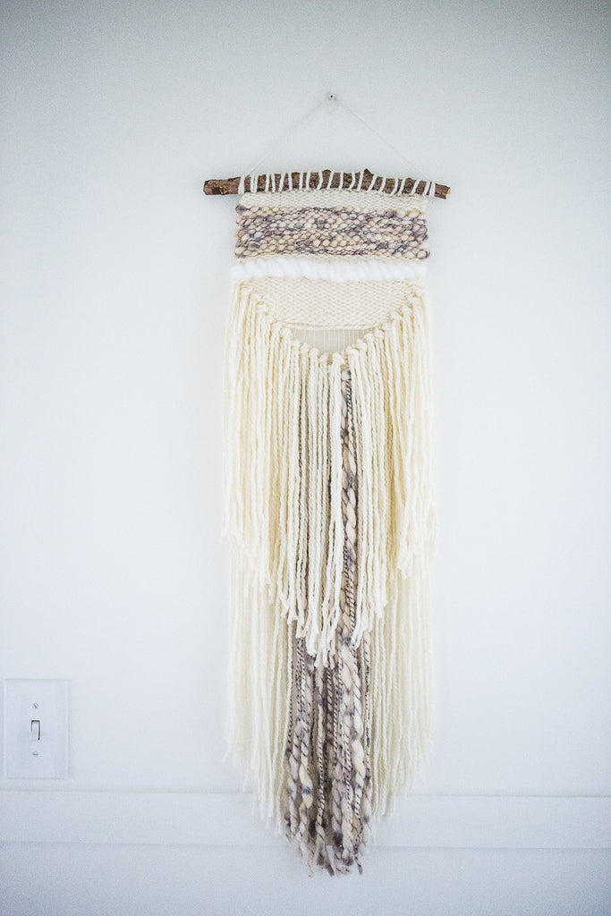 Yarn Wall Hanging of Lamb's wool and cotton.  #macrame #boho