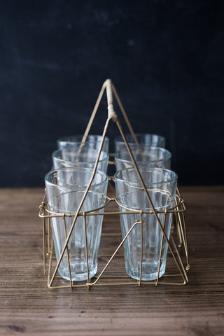 Chai Tea Wire & Rattan Carrier w/Glasses