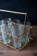 Gio Brass Wire & Rattan Caddy w/Glasses