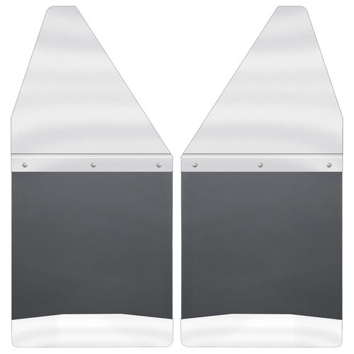 "Kick Back Mud Flaps 12"" Wide - Stainless Steel Top and Weight"