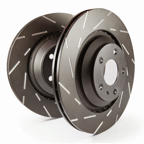 EBC Brakes USR slotted rotors feature a narrow slow to eliminate wind noise heard when using most sport rotors. Black Thermic coating leaves a nice finish and protects the rotors against corrosion.