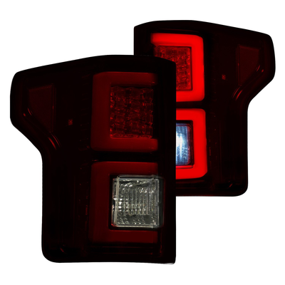 RECON 264468RBK Ford F150 18-20 (Replaces OEM Halogen Style Tail Lights) LED TAIL LIGHTS – Dark Red Smoked Lens