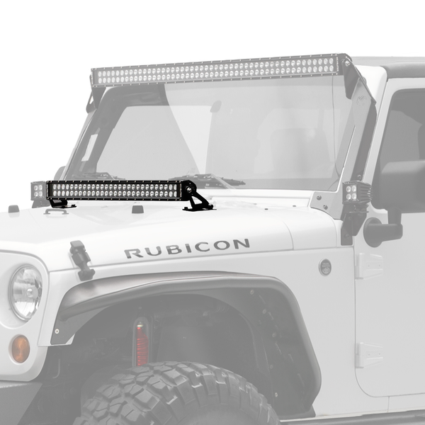 "30"" C Series C30 LED Bar & Hood Mount Bracket Kit - Jeep JK 07-15"