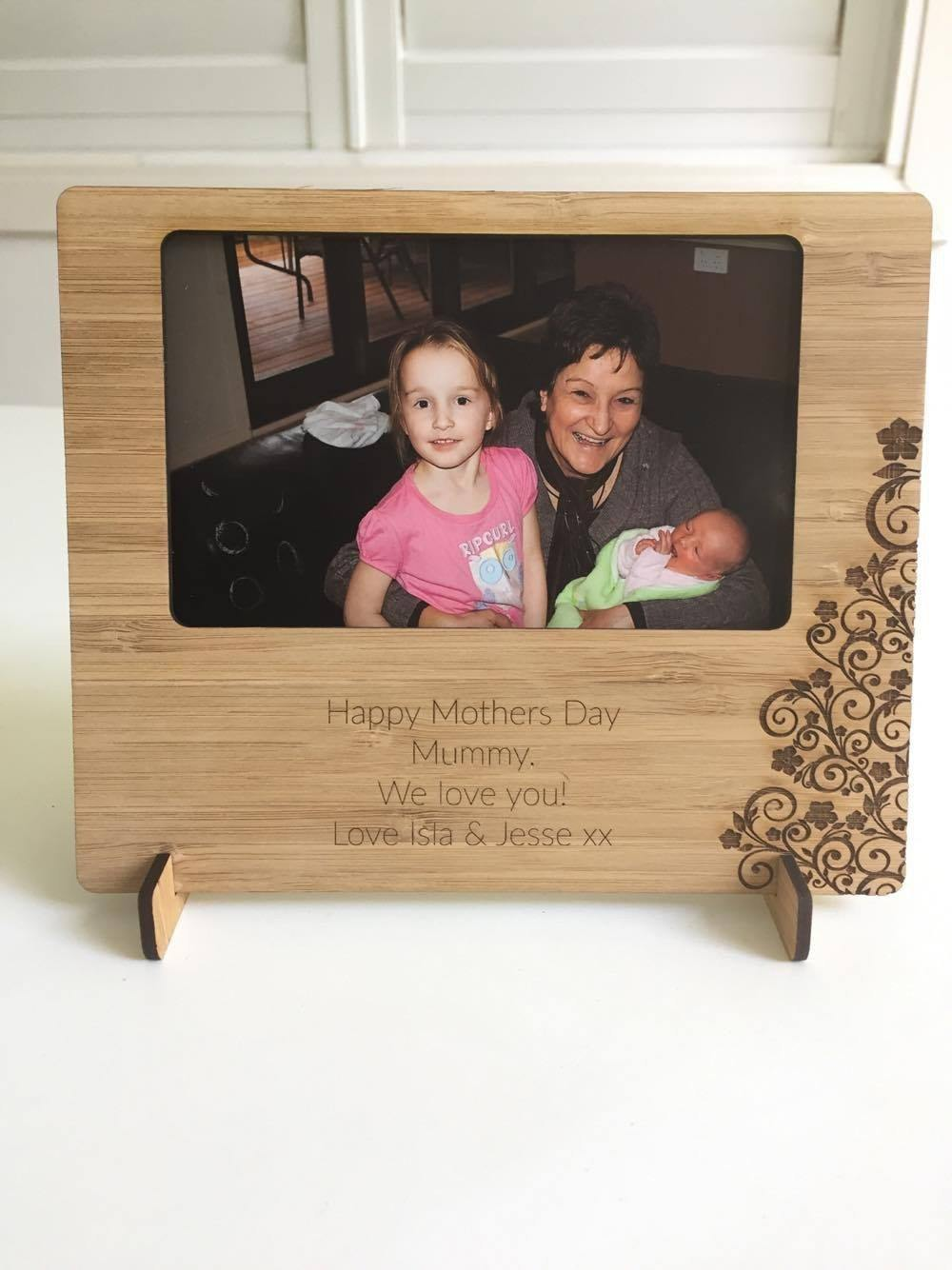 Bamboo personalised photo frame - Alexa Lane