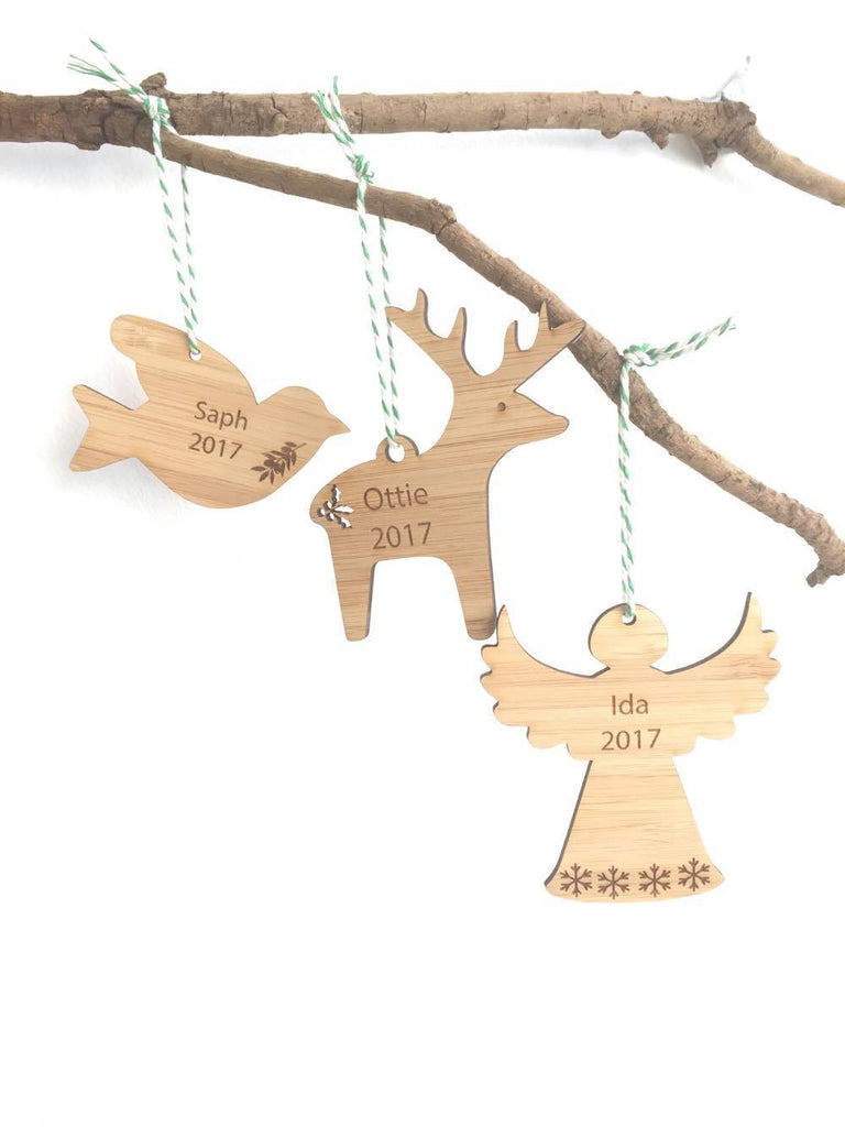 Personalised Christmas Decoration - choose from Reindeer, Dove and Angel designs - Alexa Lane