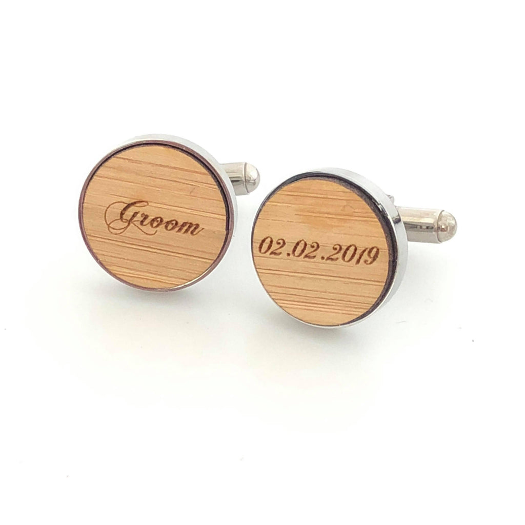 Etched bamboo and stainless steel groom cufflinks - Alexa Lane