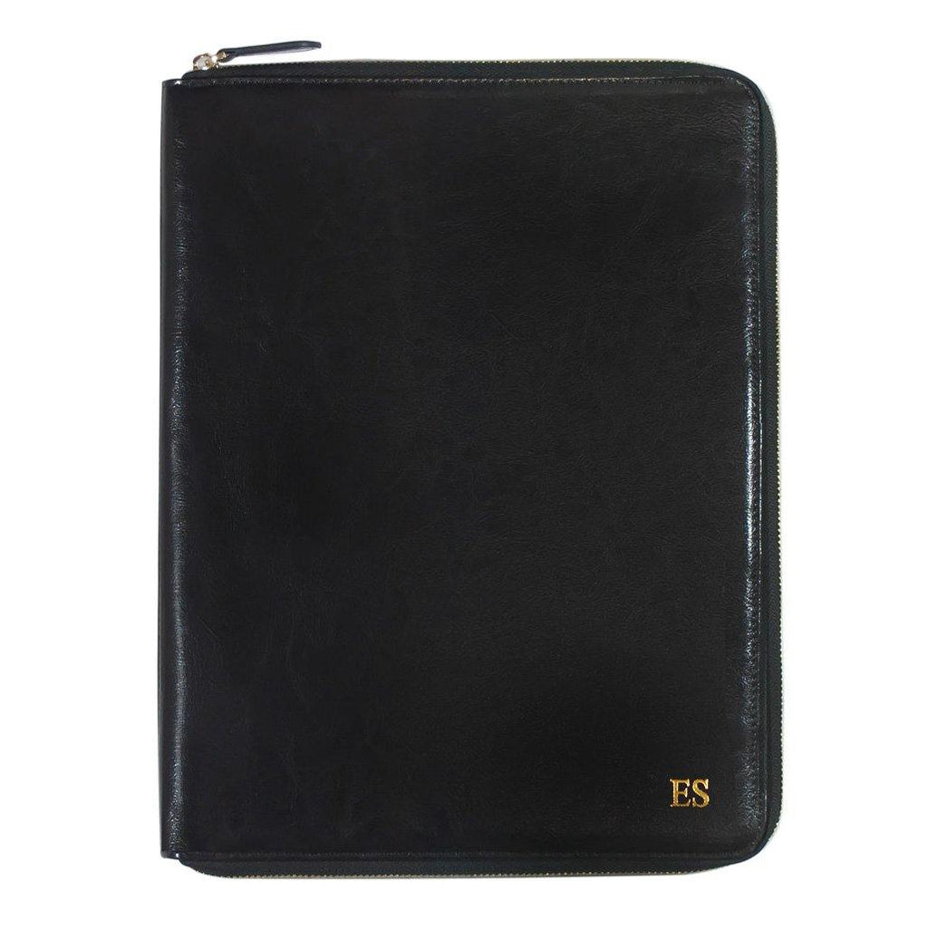 A4 Genuine Leather Black Zippered Compendium - Alexa Lane