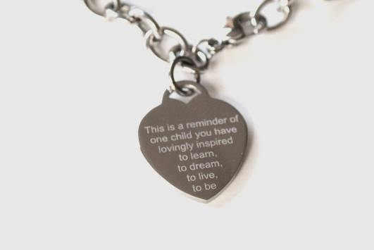 Teacher Appreciation bracelet with text and your handprint - Alexa Lane