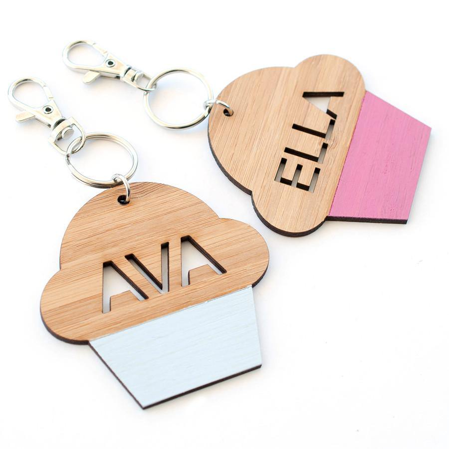 Custom name Cup Cake bag tag and keyring - Alexa Lane