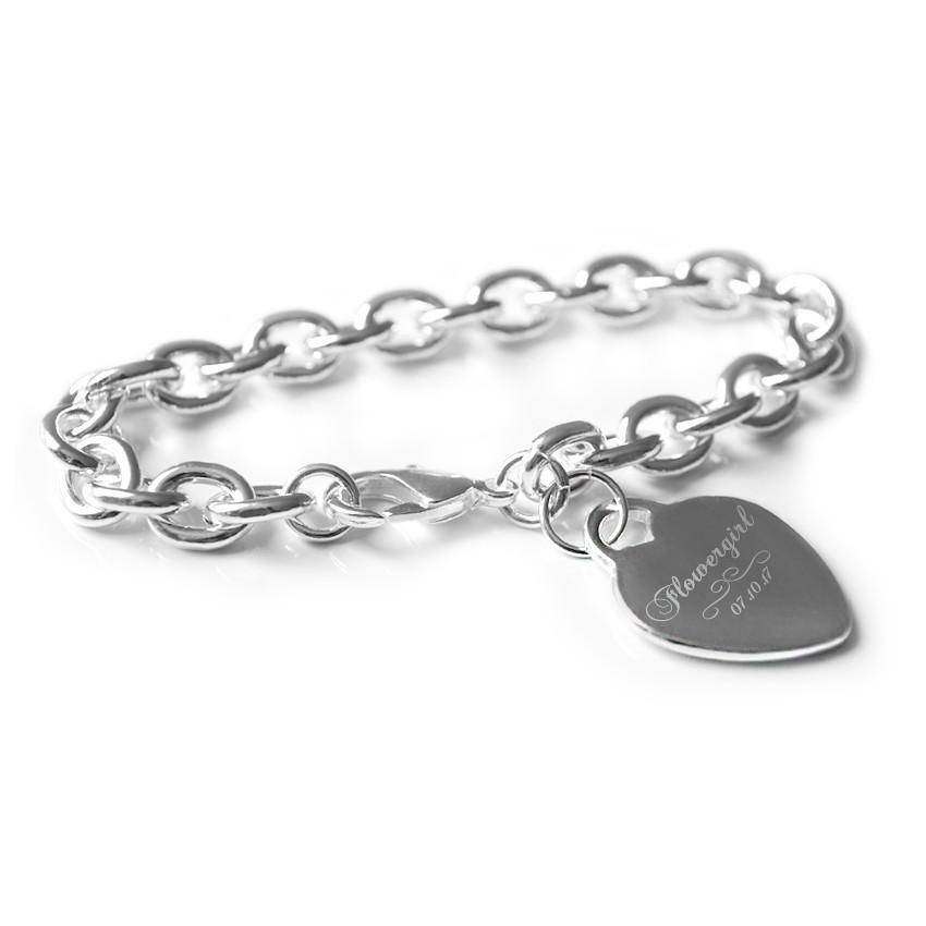 Flower girl engraved bracelet