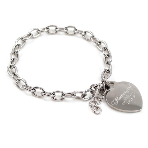 Flower girl engraved bracelet - Alexa Lane