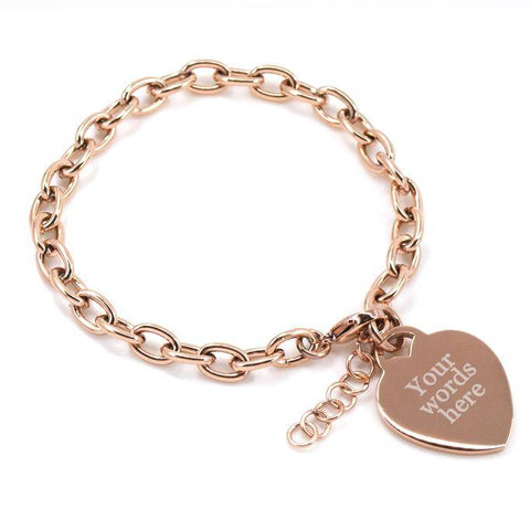 Engraved rose gold bracelet your custom text