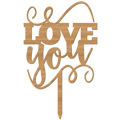 Cake Topper Love You with swirls - Alexa Lane