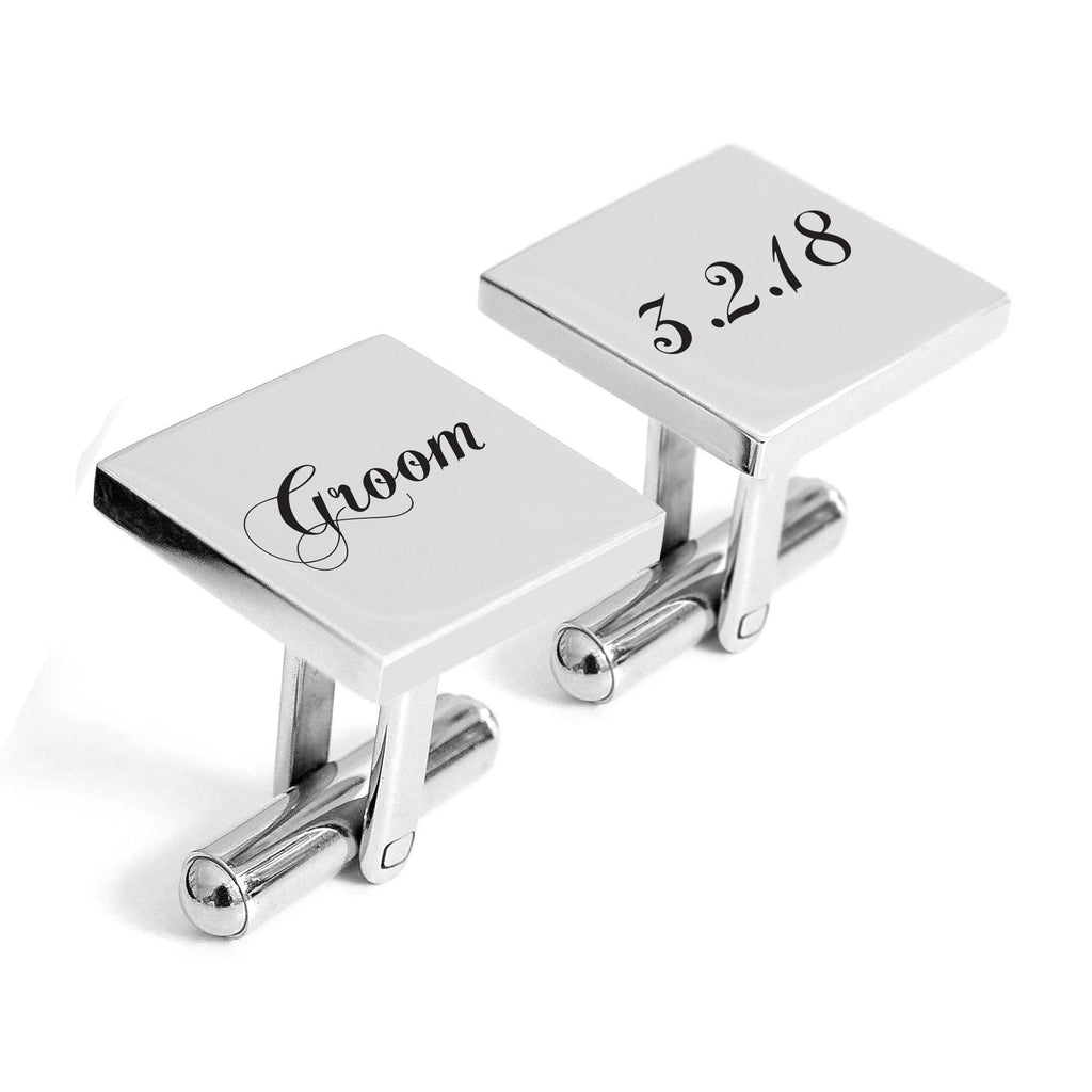 Engraved Groom cufflinks with wedding date - Alexa Lane