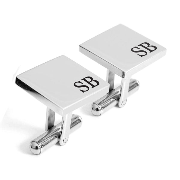 Personalised engraved initials square cufflinks