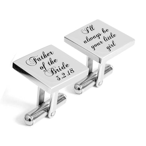 Engraved Father of the Bride Little Girl cufflinks with wedding date