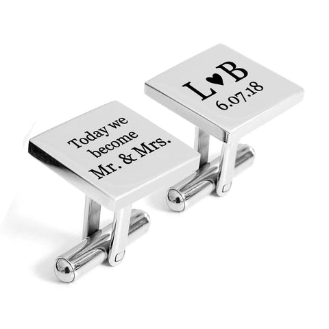 Engraved Groom Cufflinks Mr and Mrs