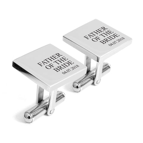 Father of the bride cufflinks with date