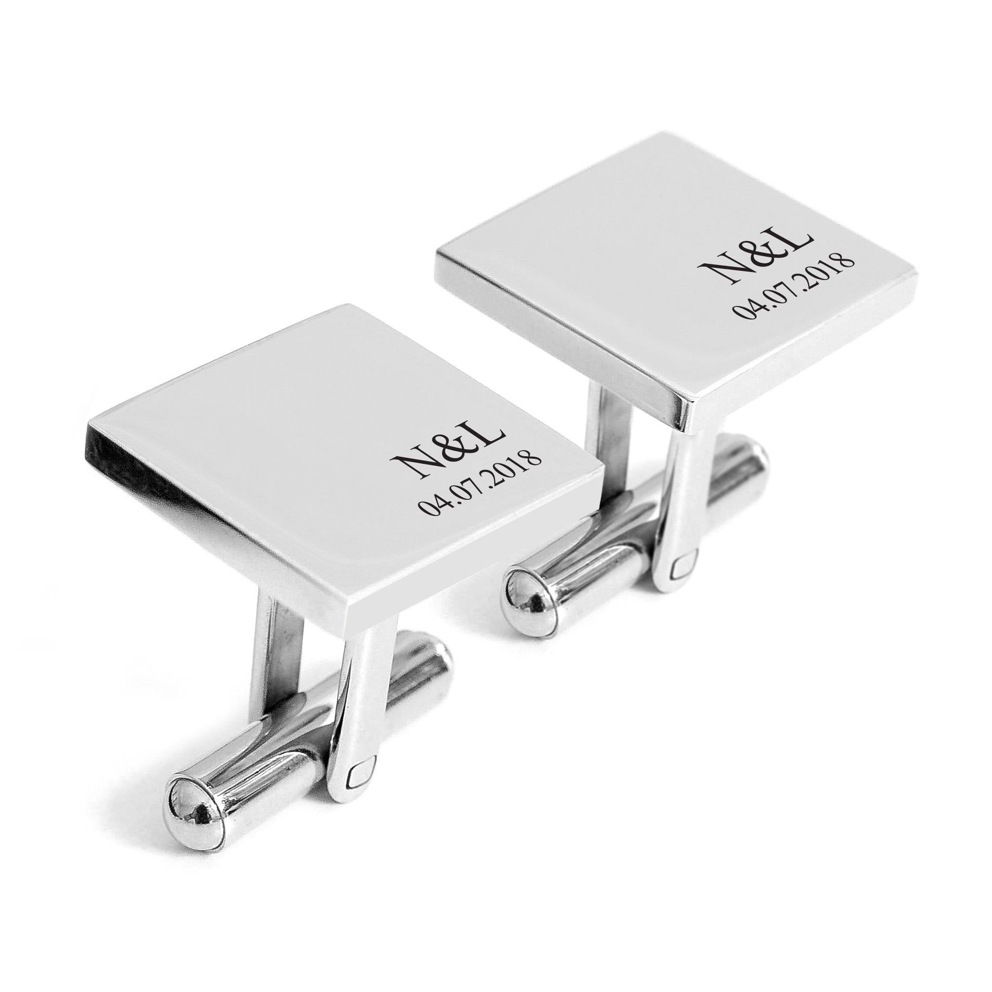Groom wedding cufflinks with date – Alexa Lane