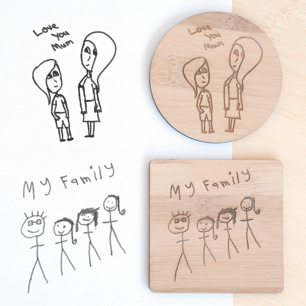 Wooden drink coaster featuring your child's artwork - Alexa Lane