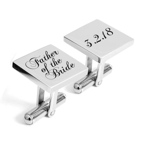Engraved Father of the Bride cufflinks with wedding date