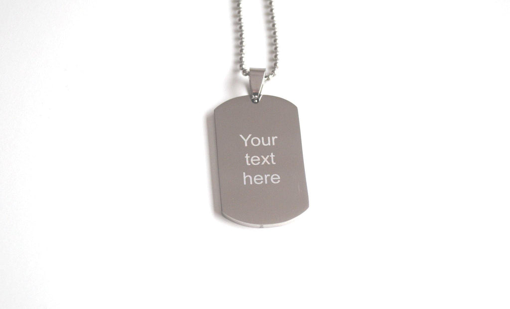 Military style tag necklace with custom engraved text - Alexa Lane