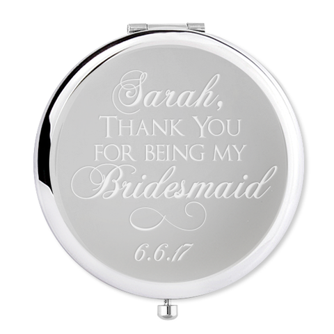 Bridesmaid gift personalised compact mirror