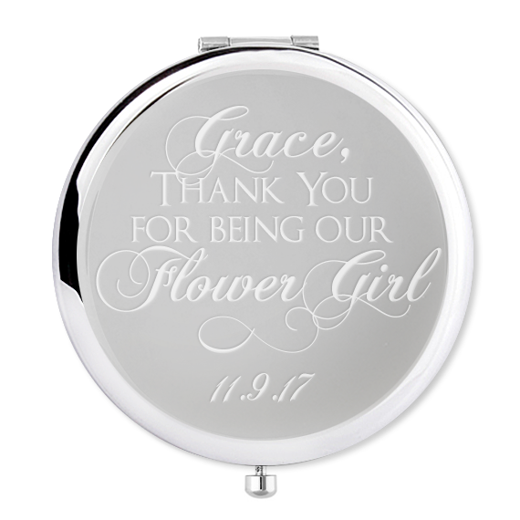 Flower girl Compact Mirror with name and date - Alexa Lane