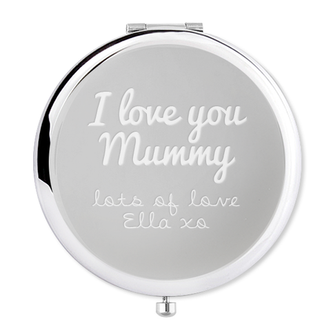 Mother's Day Compact Mirror I love you with name - Alexa Lane