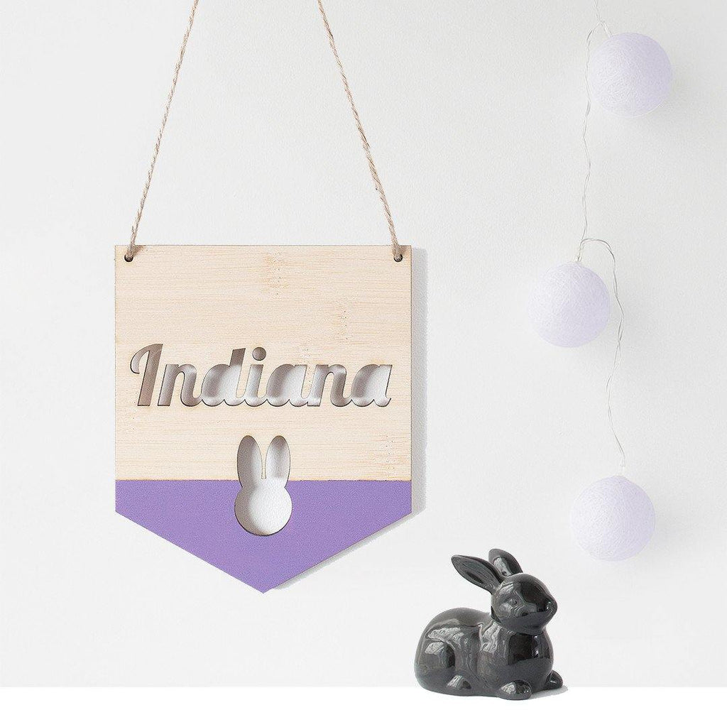Name Flag Wall Hanging Bunny - Alexa Lane