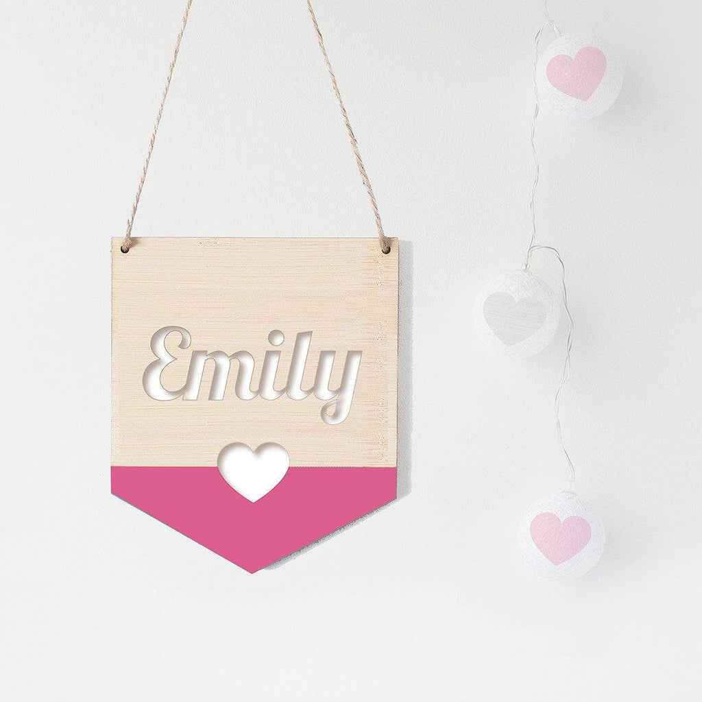 Name Flag Wall Hanging Heart - Alexa Lane