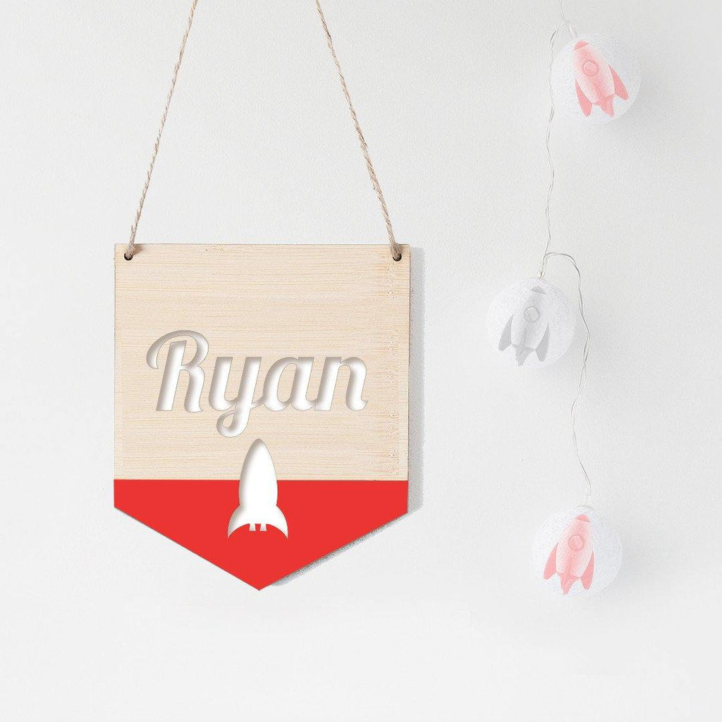 Name Flag Wall Hanging Rocket - Alexa Lane