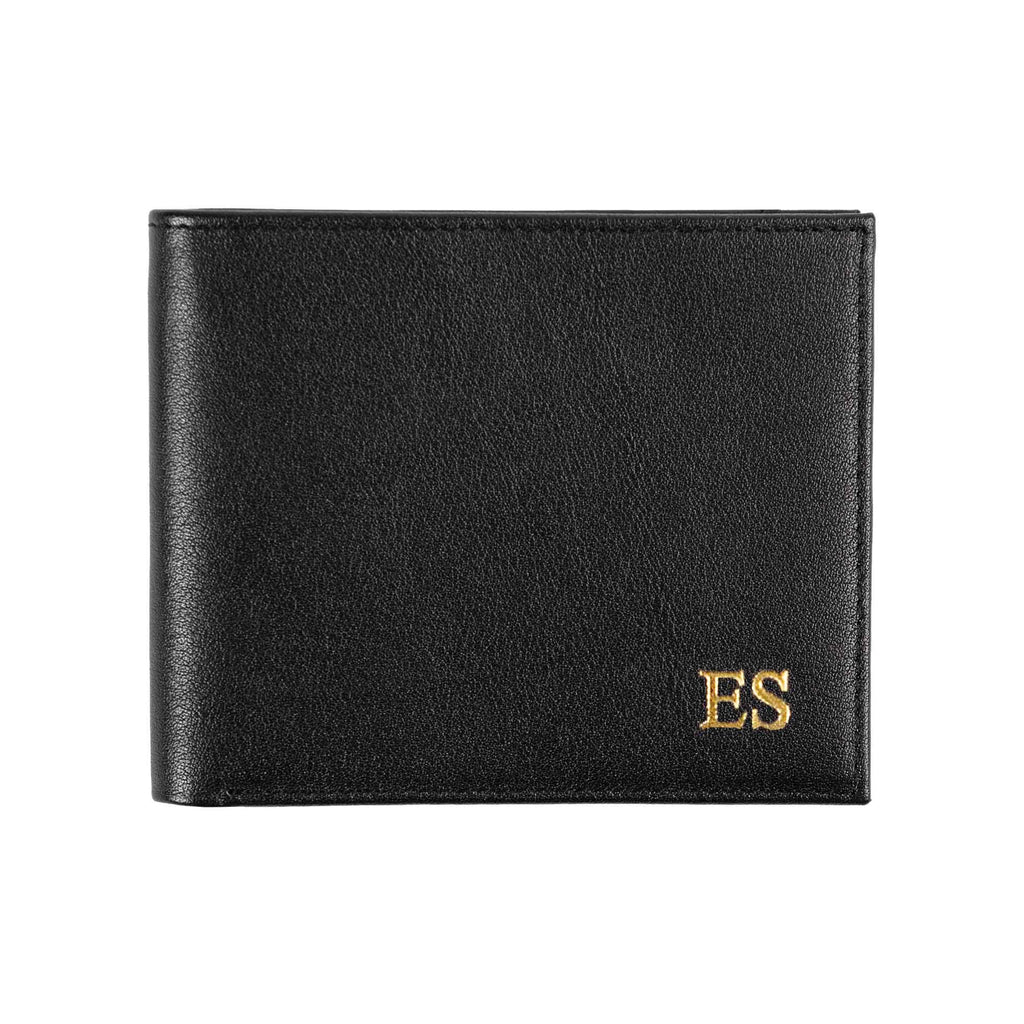 Black leather wallet with monogram
