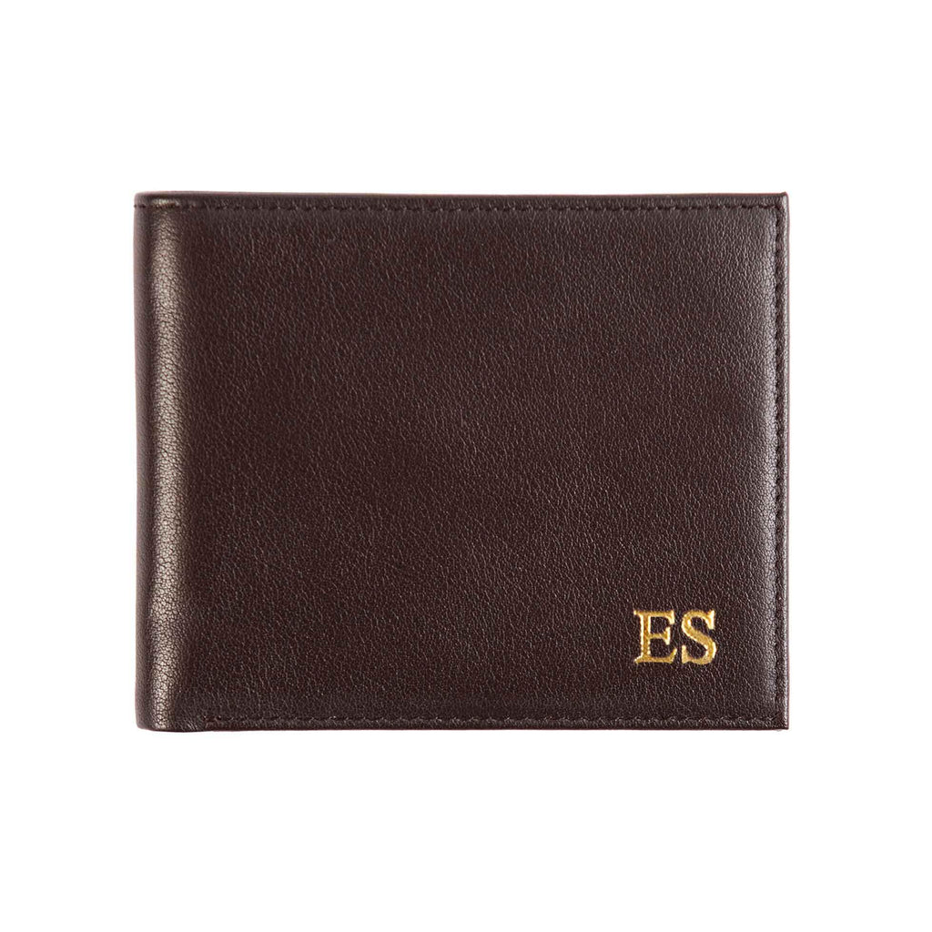 Brown leather wallet with monogram - Alexa Lane
