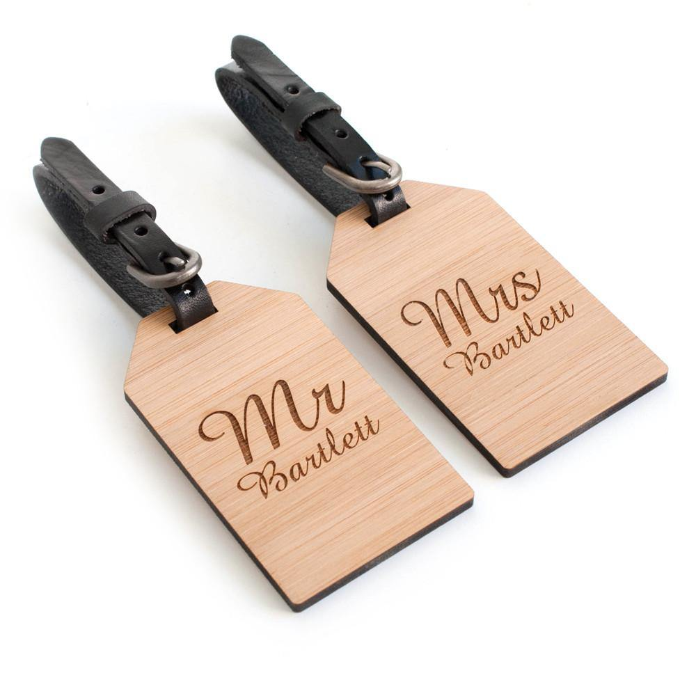 Personalised Bamboo Couple's Luggage Tags