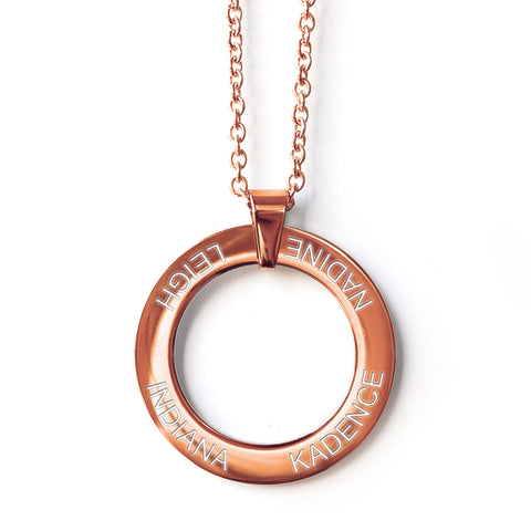 Engraved Circle Pendant Necklace - Alexa Lane