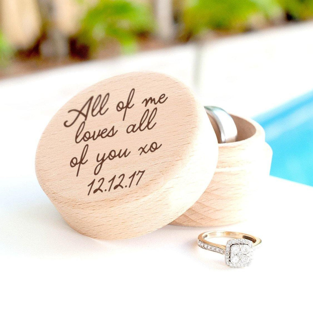 Personalised wooden ring box loves you