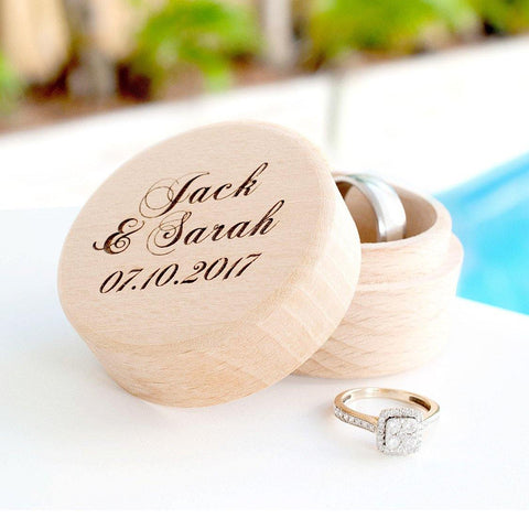Personalised wooden ring box with names and date - Alexa Lane
