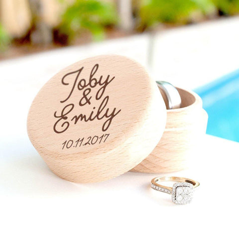 Personalised wooden ring box with names