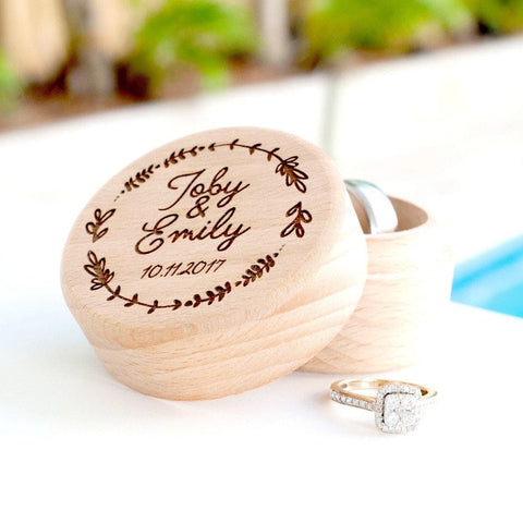 Wedding Personalised wooden ring box with names - Alexa Lane
