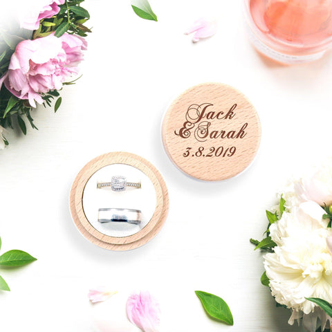 Personalised wooden ring box with names and date