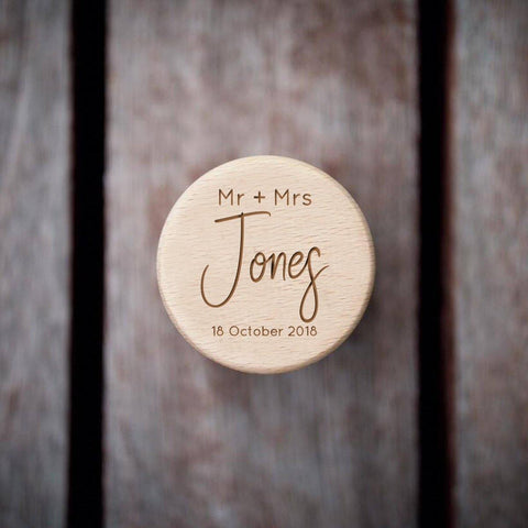 Personalised wooden ring box Mr and Mrs