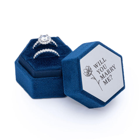 Velvet Personalised Ring Box Navy Blue