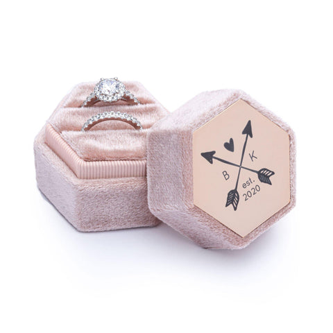 Velvet Personalised Ring Box Champagne