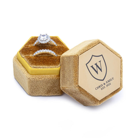 Velvet Personalised Ring Box Mustard