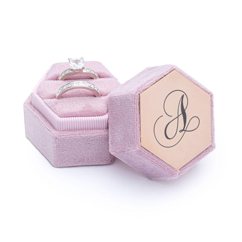 Velvet Personalised Ring Box Pink