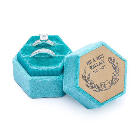 Velvet Personalised Ring Box Teal