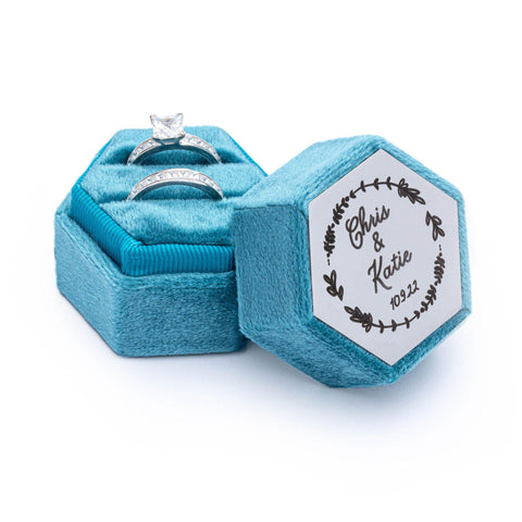 Velvet Personalised Ring Box Turquoise