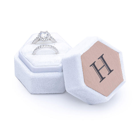 Velvet Personalised Ring Box White
